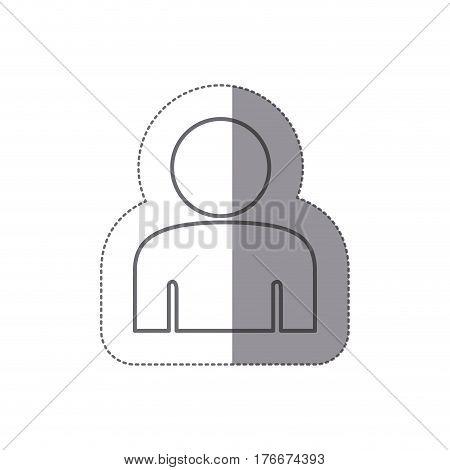 sticker silhouette half body figure person icon vector illustration