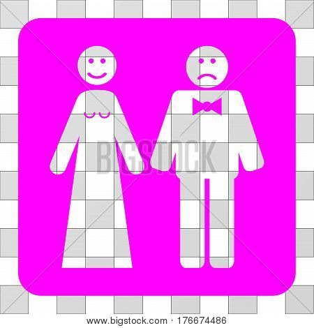 Wedding Emotions interface icon. Vector pictograph style is a flat symbol hole centered in a rounded square shape, magenta color.