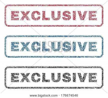 Exclusive text textile seal stamp watermarks. Blue, red, black fabric vectorized texture. Vector caption inside rounded rectangular banner. Rubber sticker with fiber textile structure.