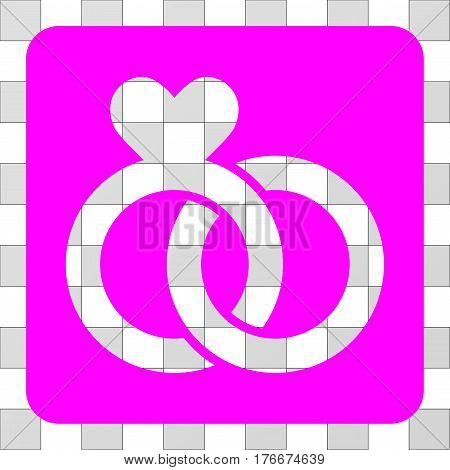 Wedding Rings interface icon. Vector pictograph style is a flat symbol hole centered in a rounded square shape, magenta color.