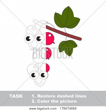 Red currant in vector to be traced. Restore dashed line and color the picture. Visual game for children. Easy educational kid gaming. Simple level of difficulty. Worksheet for kids education.