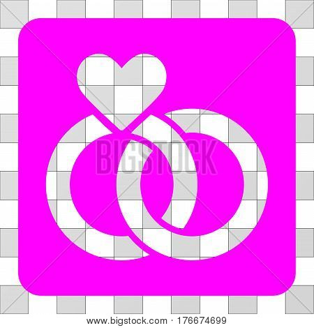 Wedding Rings interface toolbar icon. Vector pictograph style is a flat symbol perforation on a rounded square shape, magenta color.