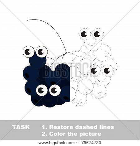 Choke berry in vector to be traced. Restore dashed line and color the picture. Visual game for children. Easy educational kid gaming. Simple level of difficulty. Worksheet for kids education.