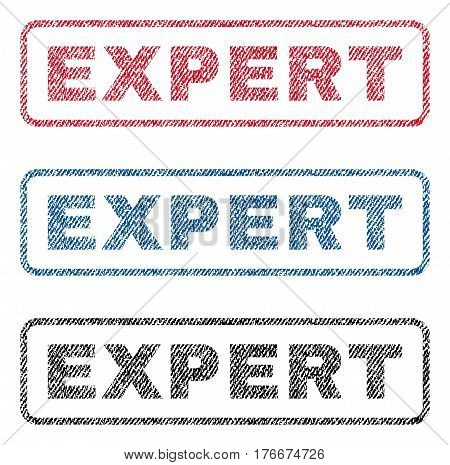 Expert text textile seal stamp watermarks. Blue, red, black fabric vectorized texture. Vector caption inside rounded rectangular shape. Rubber sign with fiber textile structure.