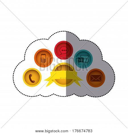 sticker colorful buttons tech with emblem ribbon decorative vector illustration