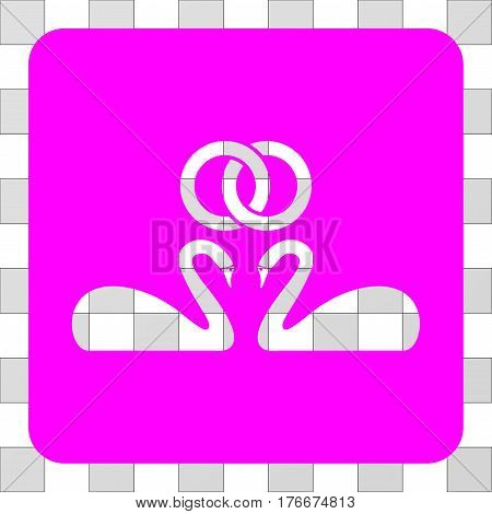 Wedding Swans interface icon. Vector pictogram style is a flat symbol perforation in a rounded square shape, magenta color.