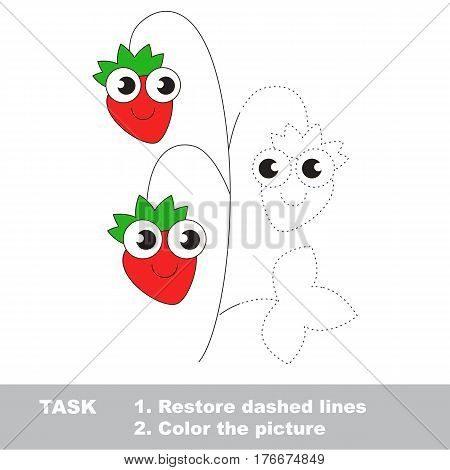 Wild berry in vector to be traced. Restore dashed line and color the picture. Visual game for children. Easy educational kid gaming. Simple level of difficulty. Worksheet for kids education.