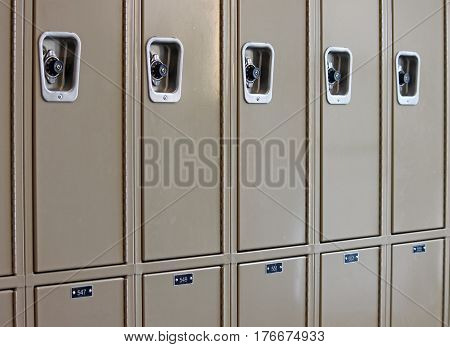 Row of School Lockers Waiting for Students to Return