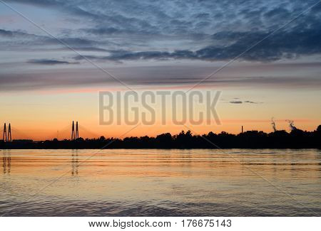 Neva River at sunset on the outskirts of St. Petersburg Russia.