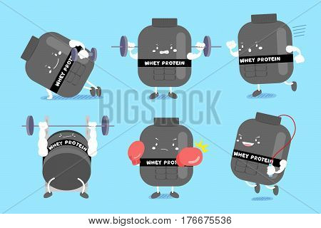 cute cartoon whey protein do exercise on blue background