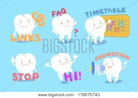 set of cute cartoon tooth with web design text and icon