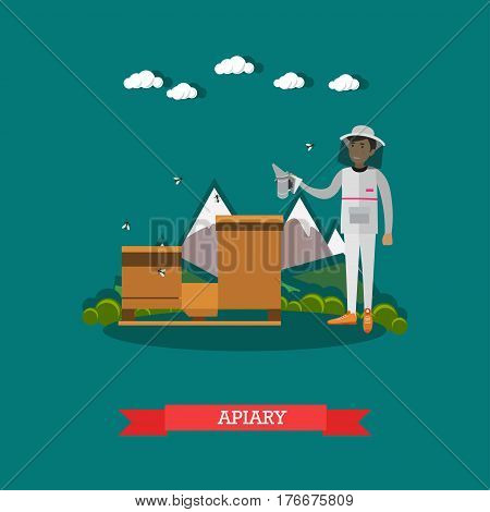 Vector illustration of beekeeper working on apiary. Apiculture concept design element in flat style.