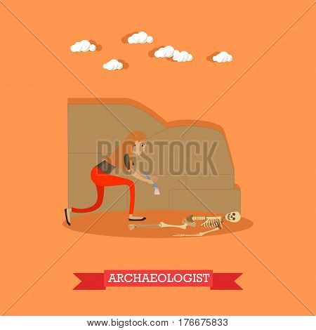 Vector illustration of archaeologist female working at archaeological site. Human remains. Archaeologist profession design element in flat style.
