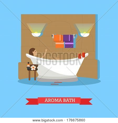 Vector illustration of young woman enjoying aroma bath procedures. Spa salon service concept design element in flat style.