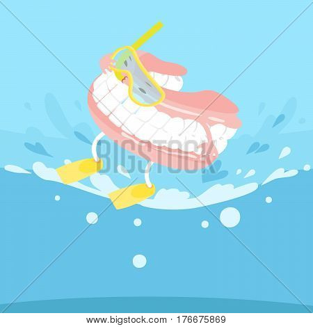 cute cartoon denture feel excited with surfing