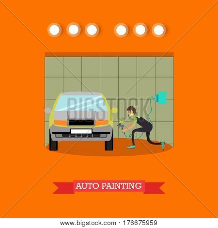 Vector illustration of young man spraying paint with spray gun on car body. Auto painting services concept design element in flat style.