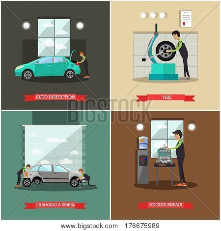 Vector set of car service station, repair shop posters, banners. Auto inspection, Tire, Changing a wheel and Engine repair concept flat style design elements.