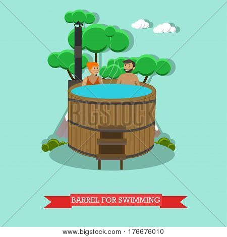 Vector illustration of young couple enjoying barrel, japanese hot tub. Spa procedures concept design element in flat style