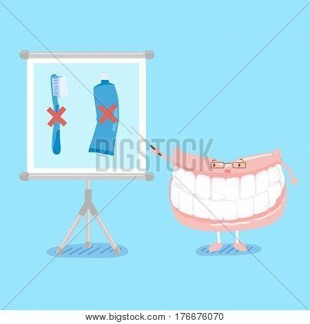 cute cartoon denture teach you not use brush and paste