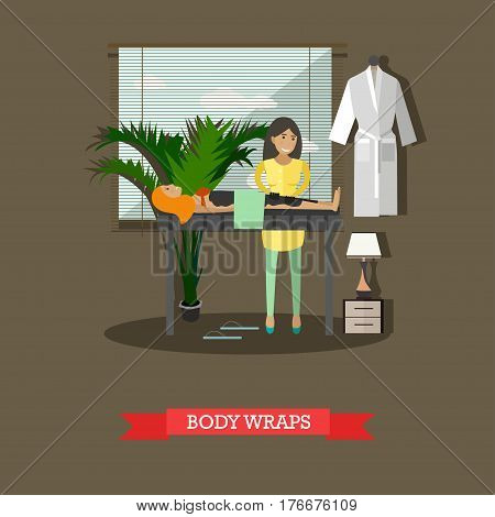 Vector illustration of woman enjoying spa body treatment, taking warming body wraps. Spa services concept design element in flat style.