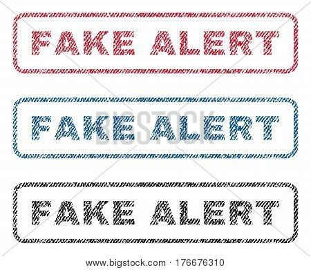 Fake Alert text textile seal stamp watermarks. Blue, red, black fabric vectorized texture. Vector tag inside rounded rectangular shape. Rubber sign with fiber textile structure.