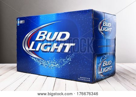 IRVINE CALIFORNIA - December 4 2014: Bud Light 36 Pack Cans. Bud Light is one of the top selling domestic beers in the United States.