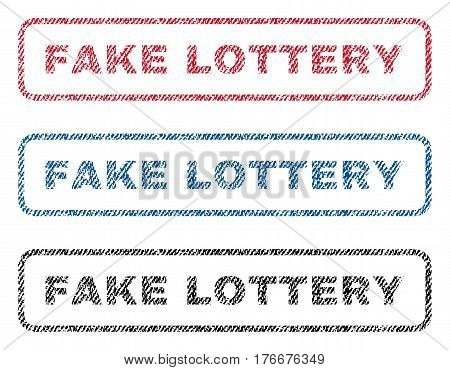 Fake Lottery text textile seal stamp watermarks. Blue, red, black fabric vectorized texture. Vector tag inside rounded rectangular banner. Rubber sticker with fiber textile structure.