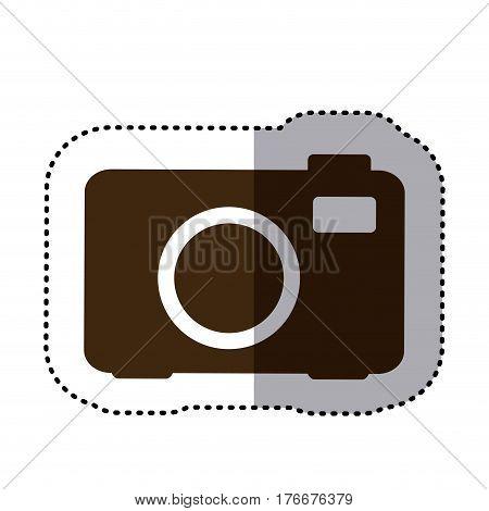 sticker brown silhouette analog camera icon flat vector illustration