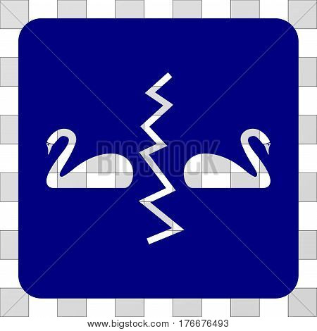 Divorce Swans toolbar icon. Vector pictograph style is a flat symbol hole centered in a rounded square shape, navy blue color.
