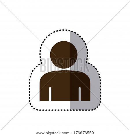 sticker brown silhouette half body figure person icon vector illustration