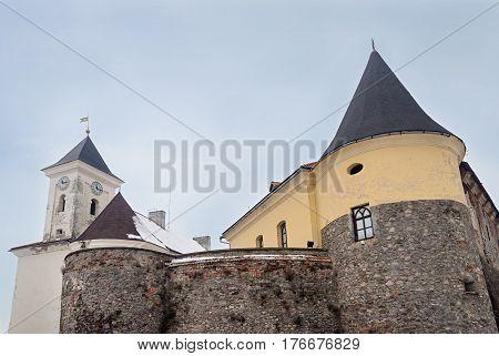 Towers of Palanok Castle in Mukachevo Ukraine