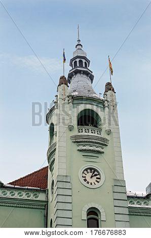 Tower of city hall in Mukachevo Western Ukraine