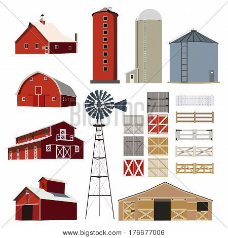 Farm Building Livestock vector set object design