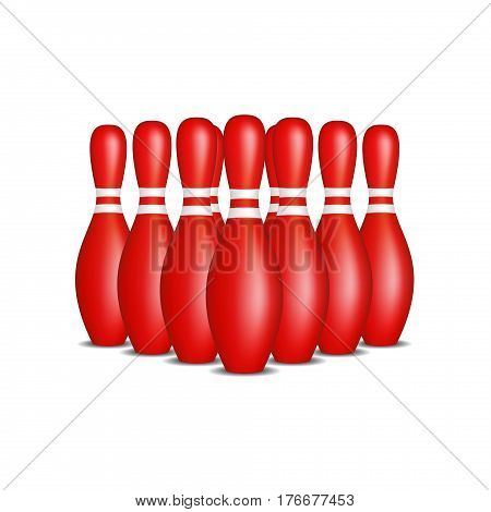 Bowling pins in red design with white stripes standing in formation on white background