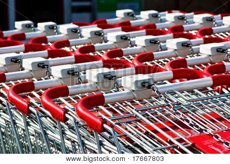 shopping carts closeup