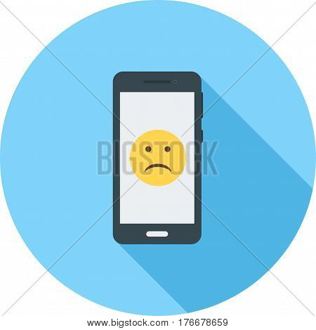 Smartphone, sad face, screen icon vector image. Can also be used for smartphone. Suitable for mobile apps, web apps and print media.