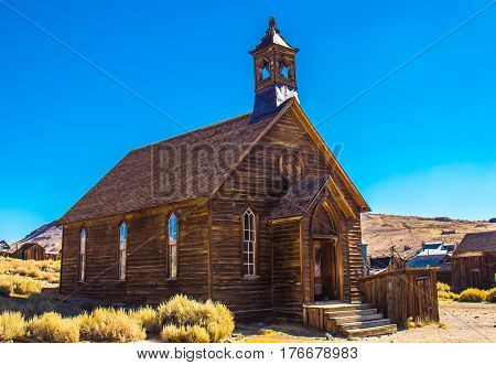 1800's Church In High Desert In California Ghost Town