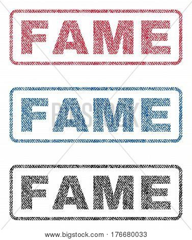 Fame text textile seal stamp watermarks. Blue, red, black fabric vectorized texture. Vector tag inside rounded rectangular shape. Rubber sign with fiber textile structure.