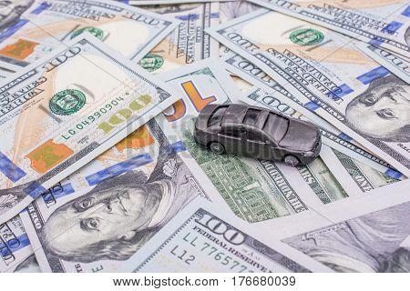Model Car Placed  Us Dollar Banknotes