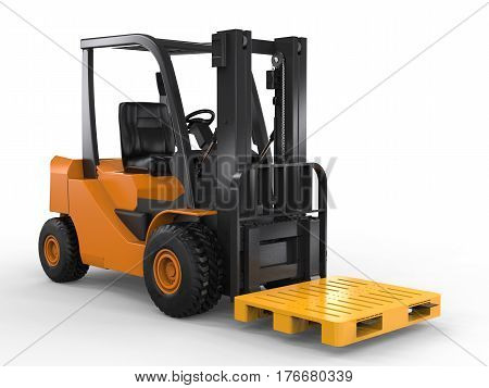 Forklift Truck With Yellow Pallet
