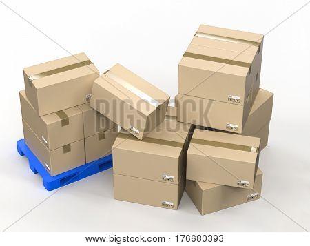 Cardboard Boxes On Plastic Pallet