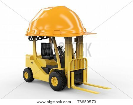 3d rendering forklift truck with yellow helmet on white background