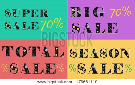 Cards with inscriptions for retail. Season Sale. Big sale. Super sale. Total sale. Artistic floral font. Black letters with watercolor flowers. Gray background. Illustration