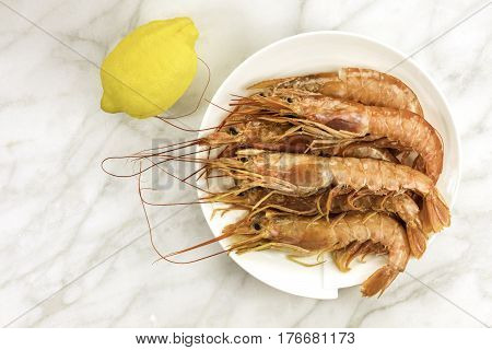 Raw shrimps with a lemon on a plate, shot from above on a white marble table with a place for text