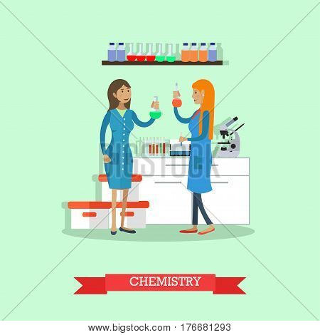 Chemistry concept vector illustration in flat style. Chemists females testing chemical elements. Laboratory interior with lab equipment and glassware.