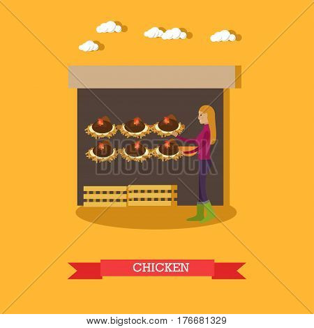 Chicken farm concept vector illustration. Poultry farm, chicken lay eggs flat style design.