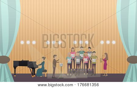 Vector illustration of choir with conductor performing on stage of concert hall with accompaniment of piano and saxophone. Flat style design.