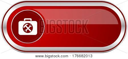 Toolkit red long glossy silver metallic banner. Modern design web icon for smartphone applications