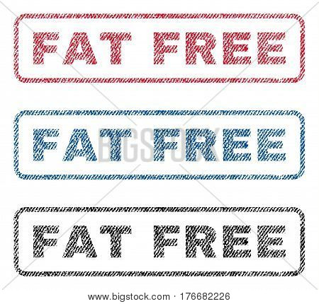 Fat Free text textile seal stamp watermarks. Blue, red, black fabric vectorized texture. Vector caption inside rounded rectangular banner. Rubber emblem with fiber textile structure.