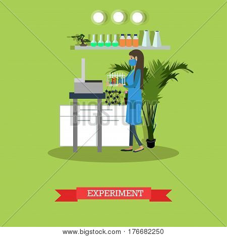 Vector illustration of biologist or chemist female in protective mask and lab coat carrying out experiment. Laboratory equipment and interior. Scientific experiment design element in flat style.